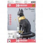 """3D ORIGAMI PAPERRAZ interjerui FIGŪRA """"Cat Bastet"""", grafitinis, kūrybinis rinkinys"""