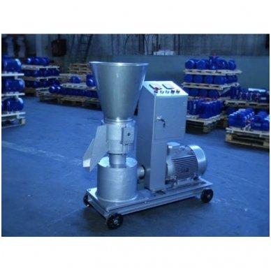 400V 11kW universalus: biokuro/pašarų granuliatorius ELMOTOR (90-150 kg/val., dvipusė matrica)